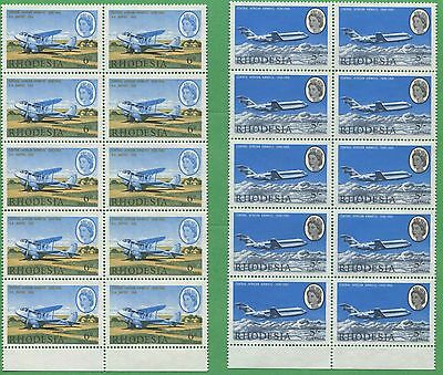 4 Blocks of 10 1966 Rhodesia Stamps 241 - 244 Cat. Val. $77 Central African Air