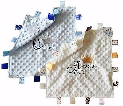 Personalised Taggy Blanket,comforter Crown Name Prince/princess Christening Gift