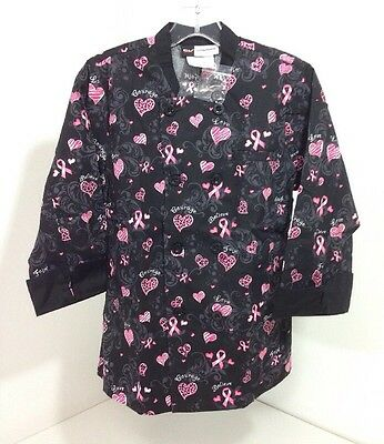 Chef Uniforms Women's Double Breasted Coat Breast Cancer Theme Blk/pnk Xs Nib