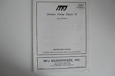 Mfj -949E Deluxe Versa Tuner 11 (Instruction Manual Only).radio_Trader_Ireland.