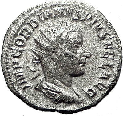 GORDIAN III 239AD Authentic Genuine Ancient Silver Roman Coin Fortuna i59493