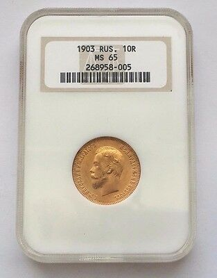 1903 Russian Gold 10 Roubles Ms 65 Ngc Coin