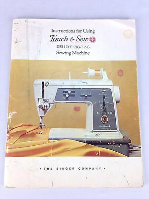 1964 Singer Instructions for Using Touch & Sew Deluxe Zigzag Sewing Machine Book