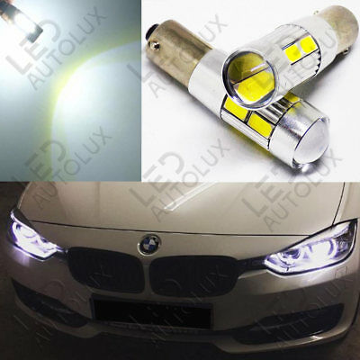 2x H6W BAX9s 433c 434 Offset CanBus Super Power LEDs SMD White Bulbs Error Free