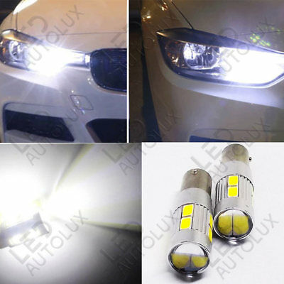 2x Offset H6W BAX9s 433 434 Xenon Power 10 LED SMD White Bulbs Sidelight Parking