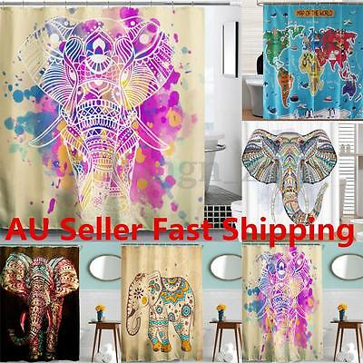 Elephant Design Polyester Shower Curtain Panel Sheer Bathroom Decor 12 Hooks Set