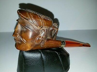 Vintage Hand Carved Wooden Pipe Man's Face With Monkey On The Stem