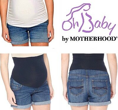New MOTHERHOOD MATERNITY Cuffed Jean Shorts M 8-10 Secret Fit Belly Denim Bottom
