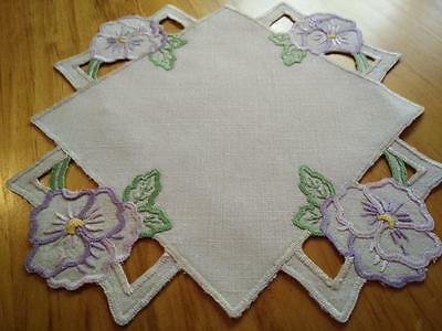 Gorgeous Pansies - Purple/ Mauve ~ Vintage Hand Embroidered & cut-work Doily