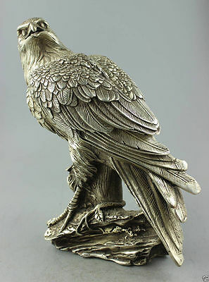 Collectible Decorate Old Handwork Tibet Silver Carved Eagle On Tree Box&Statue 1