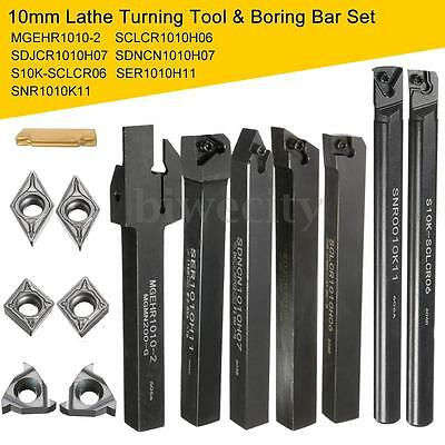 7x/Set Of 10mm Lathe Turning Tool Holder Boring Bar +DCMT/CCMT Carbide Insert US