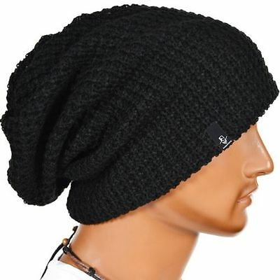 Mens Slouchy Long Beanie Knit Cap for Summer Winter Oversize FREE Shipping