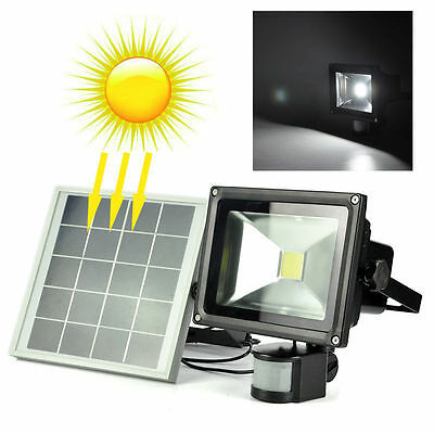Outdoor 20W LED Solar Motion Sensor Spotlight Work Light Flood Lamp+ Solar panel
