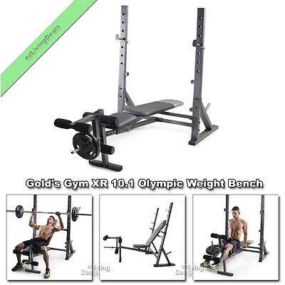 Gold Gym XR 10.1 Olympic Weight Bench Adjustable Golds FID Press Workout Lifting