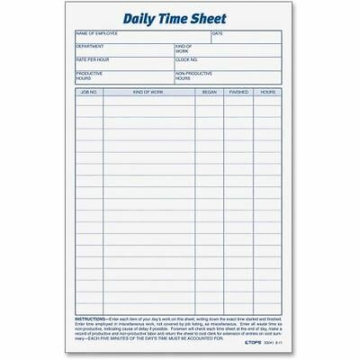 TOPS Daily Time Sheet Form 30041