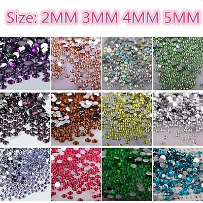 Diy 1000Pcs 2MM 3MM 4MM 5MM Facets Resin Rhinestone Gems Flat Back Crystal Beads