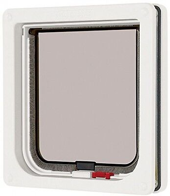 Cat Mate Lockable Cat Flap White - Screws to External Frame for Thin Panel Doors