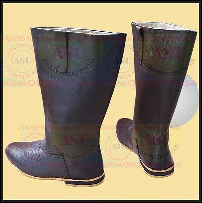 Medieval Leather Boots Mens Shoes Long Shoe for Armor Re-enactment Costume Boot