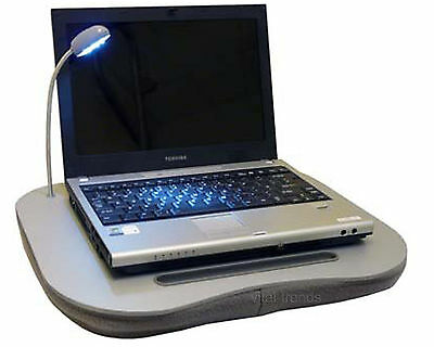 Laptop Cushion Portable Reading Lap Top Tray Table With Light & Cup Holder Grey