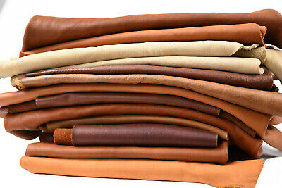 Cowhide Leather Scraps - Earth tone Upholstery pieces | 2-3 hands