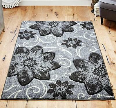 Viva Soft Grey Black Floral Design Hand-carved ALL SIZES Rugs Runners