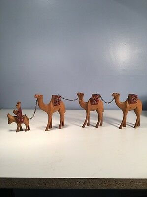 Vintage 3 Camels and 1 Donkey with Rider Handmade Figurines