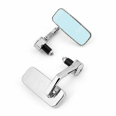 "Universal Motorcycle 7/8"" 1"" Handlebar Mount Bar End Rear View Mirror Chrome  ."
