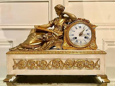 Ormolu gilt bronze marble antique Henri Picard clock with Riango Freres movement