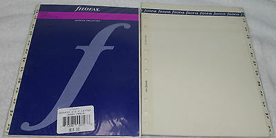 2 pc FILOFAX DESKFAX INDEX Cream A-Z Two Letter Refill Insert Organizer Agenda