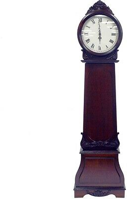 Grandfather Clock Full Size With Shelves Antique Elegant Ornament Living Room