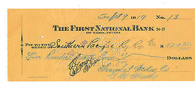 OLD CHECK   THE FIRST NATIONAL BANK of ELKO, NEVADA  1919