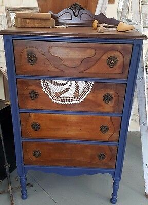 Antique Vintage Dresser Chest of Drawers Painted Blue Stunning piece 4 drawers