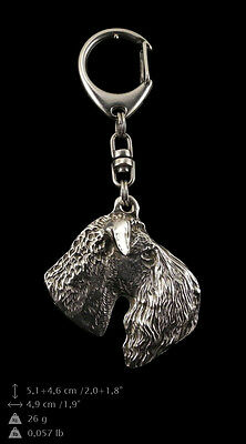 Kerry Blue Terrier silver covered keyring, high quality keychain Art Dog