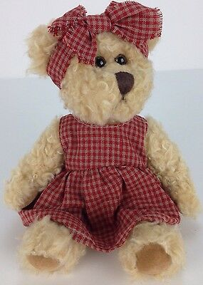 """Russ Berrie HEARTLAND Curly Hair Bear With Tag Checked Jumper & Bow 8""""  #100401"""