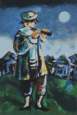 "Yosl Bergner ""The Flute Player""  hand signed lithograph This lithograph is limit"