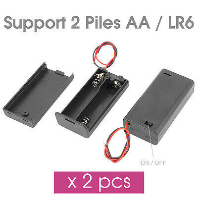 x2pcs Boitier Support Coupleur 2 Pile AA LR6 Accu +Couvercle +Interupteur ON/OFF