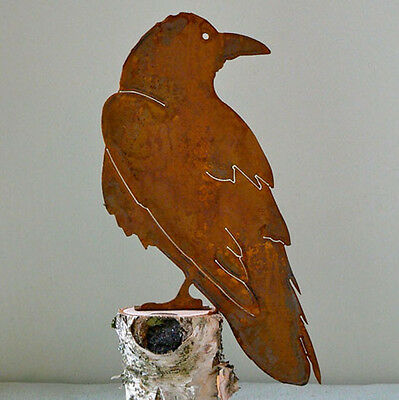 Common Raven Cut Steel Yard or Garden Ornament Wary Raven Made in USA Crow