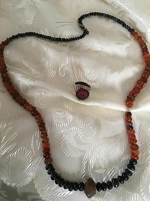 Ancient,rare Near Easteren Sheba Kingdom Red Carnelian,Black Agate Bead Necklace