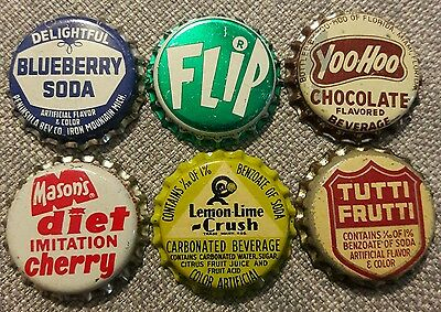 6 diff SODA BOTTLE CAPS unused cork #1