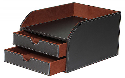 Faux Leather Office File A4 Paper Document Letter Desk Filing, 2 Drawers + Tray