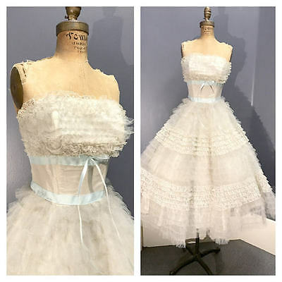VINTAGE BRIDAL 1950's 1950s PROM Tulle & Lace Bridesmaid Wedding Dress Gown Xs S