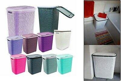 Extra Large Rattan Plastic Laundry Bin Multi Storage Washing Basket Box