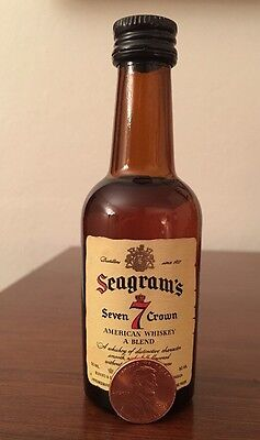 Vintage Seagrams 7 Seven Crown Whiskey 50 ml Glass Mini Bottle-Unopened