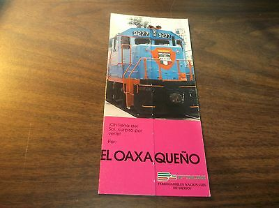 FNM NdeM NATIONAL OF MEXICO EL OAXAQUENO  PUBLIC TIMETABLE