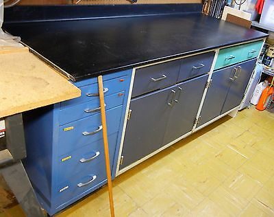 """Lab Epoxy Resin Bench Top 85""""x 31"""" Fisher Scientific Base Cabinets 35""""x 22""""x 36"""""""