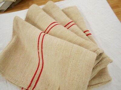 19x53 Vtg Antique RED STRIPE European HEMP LINEN Fabric FEED SACK GRAIN BAG