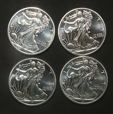 Four (4) Walking Liberty Design Silver Rounds 1 Troy Oz .999 Pure  Lot 110118