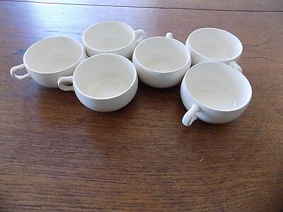 Russel Wright Steubenville American Modern 6 White Coffee Cups