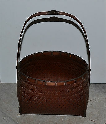 Japanese Bamboo Ikebana Basket Finely Woven Signed Handle Old or Antique