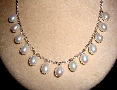 eb7145718 Sterling Silver Link Chain 13 Creamy White 10-12mm Drop Pearls Collar  Necklace